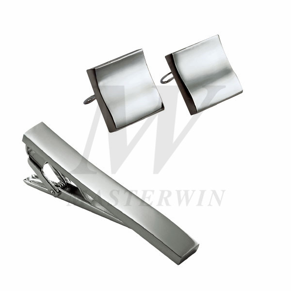 Metal Tie Clip and Cufflinks Set_B92738
