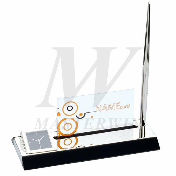Metal Desk Quartz Clock with Name Card Holder and Pen_B86252-01-P66