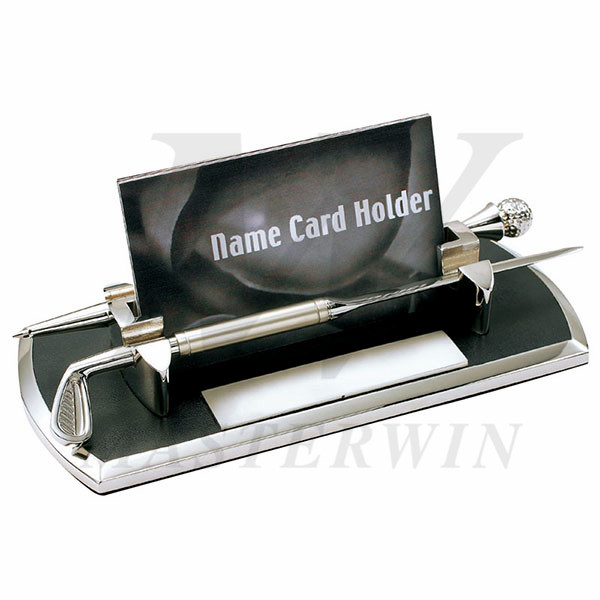 PU/Metal Name Card Holder with Letter Opener and Pen_B86216-P112