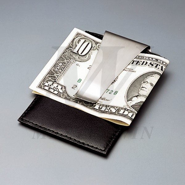 Leather/Metal Credit Card Pouch with Money Clip_B82866