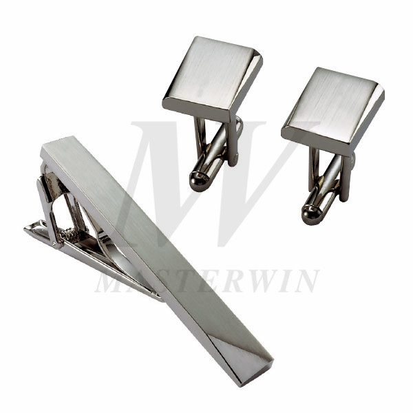 Metal Tie Clip and Cufflinks Set_B92739